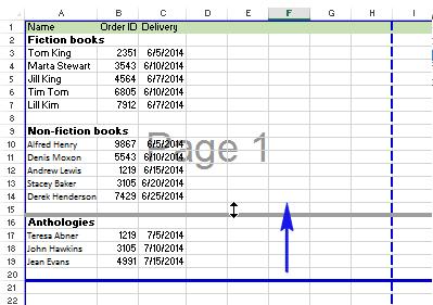 Di chuyển một ngắt trang trong Excel
