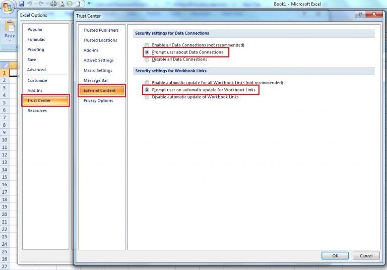 Kiểm tra external links (liên kết ngoài) khi Excel bị treo