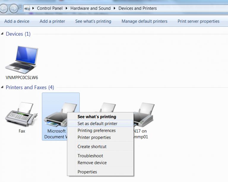 Thay đổi Máy in mặc định khi Excel bị treo