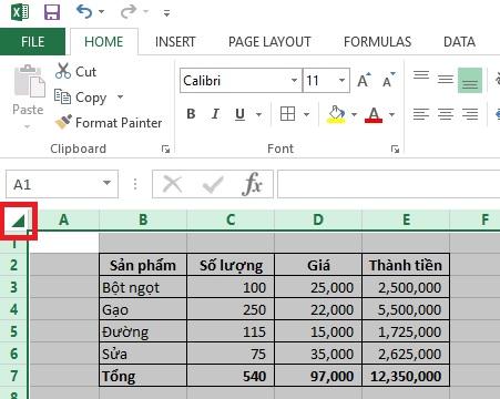 Chọn tất cả dữ liệu - thao tác excel cơ bản