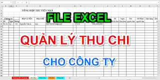 File Excel quản lý thu chi cho công ty